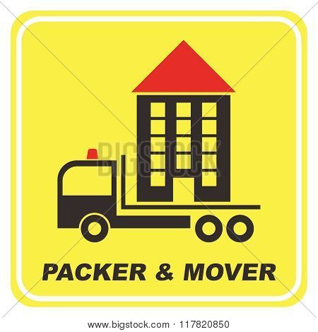 Vector Creative Packer and Mover Rectangle Yellow Window Sticker