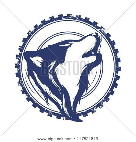Vector Creative Retro Wolf Head Badge Illustration