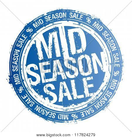 Vector stamp blue imprint - mid season sale.