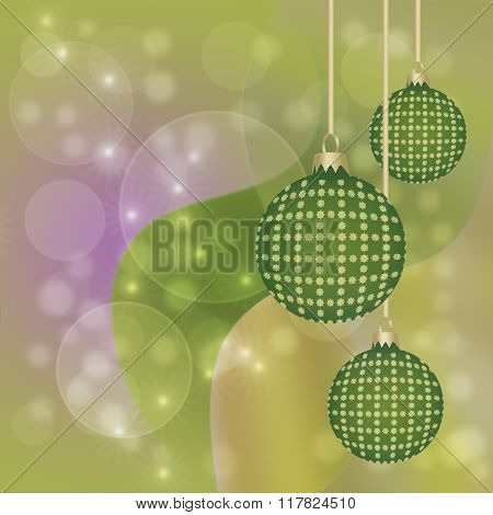Hanging Green And Gold Christmas Baubles