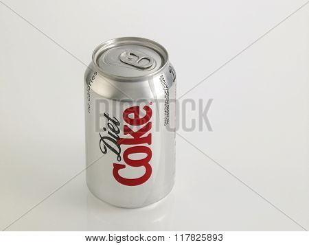 Kuala Lumpur Malaysia Jan 18th 2016, can of the diet coke on the white background