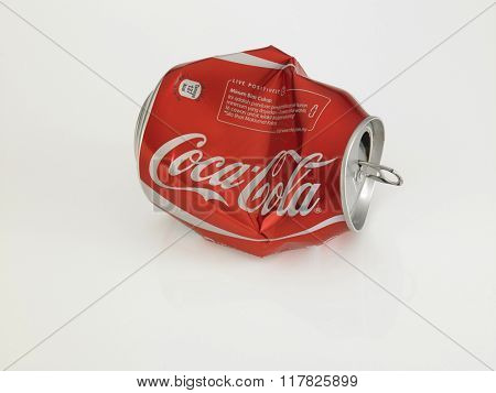 Kuala Lumpur Malaysia Jan 18th 2016,Crumpled Coca Cola cans. Coca Cola drinks are produced and manufactured by The Coca-Cola Company, an American multinational beverage corporation.