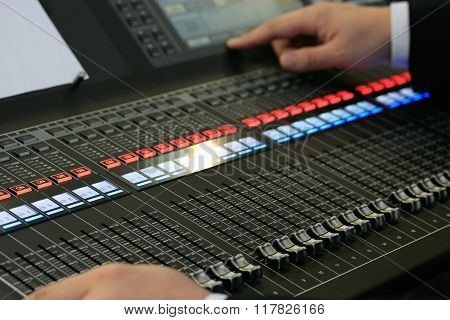 Sound Mixing Board With Male Hands