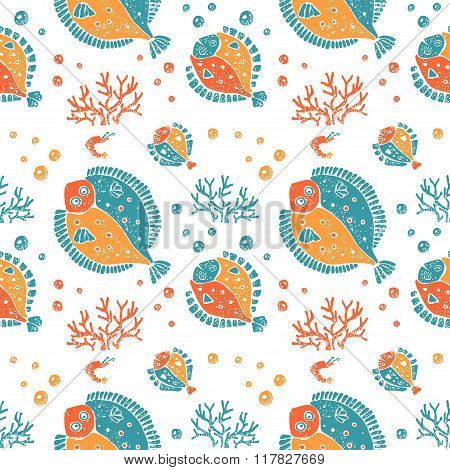 Seamless pattern in lino style, flounder and coral