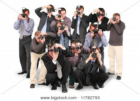 many photographers paparazzi double twelve group with cameras isolated on white collage poster