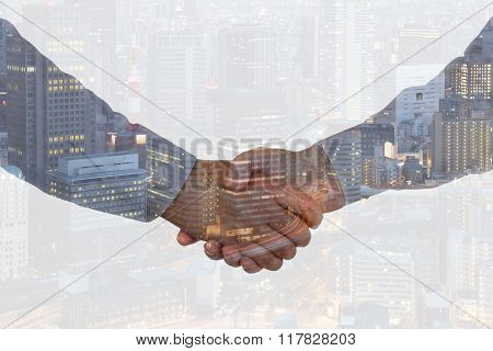 Handshake Business Hand Shake Shaking Hands Deal Success Welcome City Double Exposure