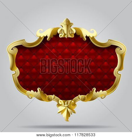 Gold vintage frame with red button-tufted leather background. Contains the Clipping Path
