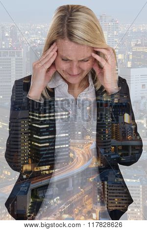 Business Woman Businesswoman Stress Pressure Burnout Headache Manager City Double Exposure