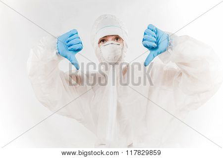 Person Wearing Bio-hazard Protection