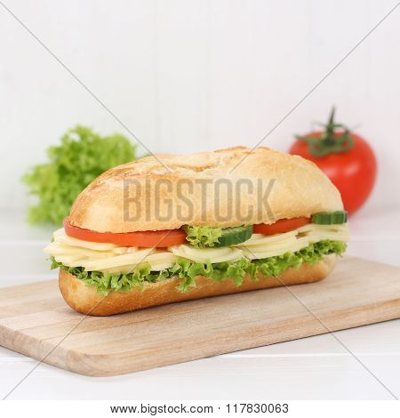 Healthy Eating Sub Deli Sandwich Baguette With Cheese For Breakfast