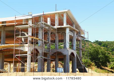 Sceleton Of New Suburb Cottage House With Front Staircase On Hill