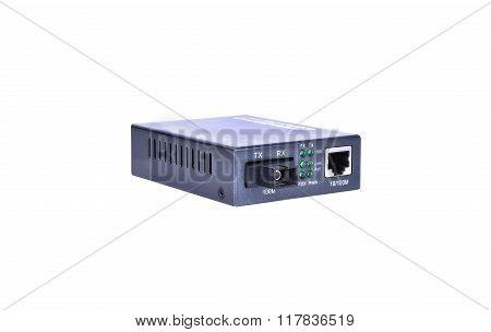 Fiber optic Media converter with metalic RJ45 connector and SC fiber Optic connector poster