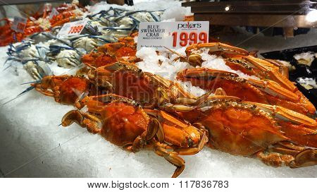 Price Tag On Blue Swimmer Crab At Sydney Fish Market