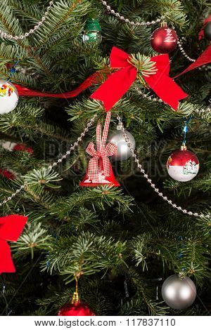 Close Up Of Decoration In Xmas Tree