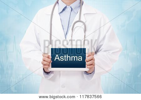 Doctor holding a tablet pc with asthma sign on blue background