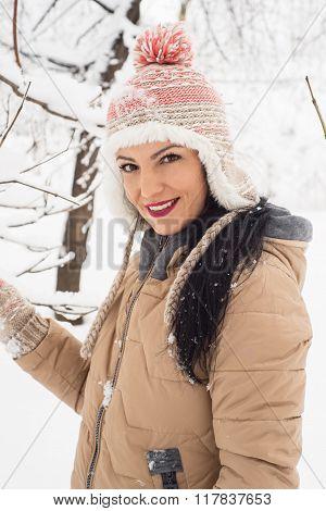 Beautiful Woman In Snow Posing