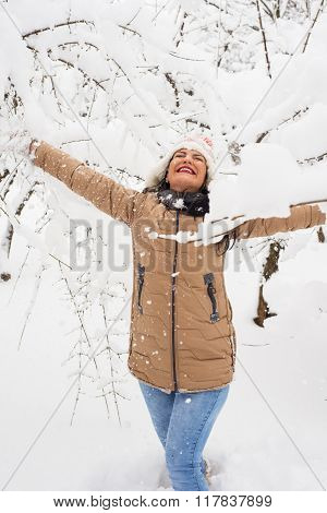 Cheerful Woman In Park With Snow