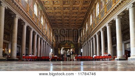 Tourists At Papal Basilica Of Saint Mary Major. Faces Are Indistinguishable