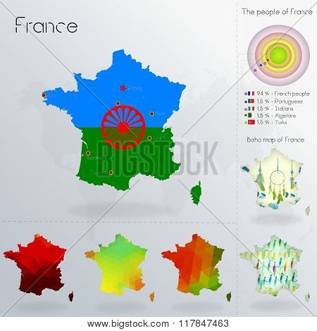 Modern Geometric And Political Map Of France. Gypsies People Immigration To France. Gypsies People D
