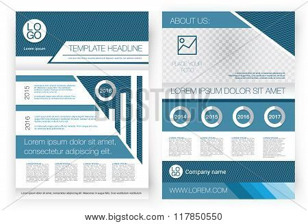 Vector Brochure design template. Front page and back page, infographics. Corporate form for the pres
