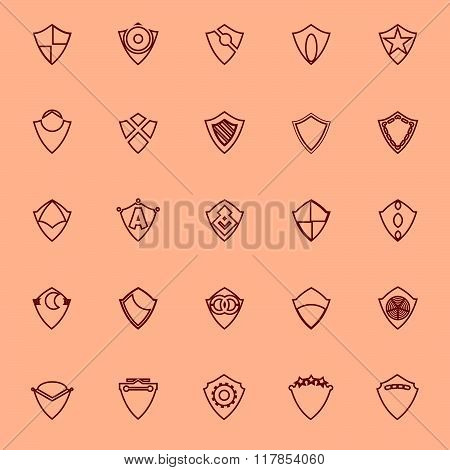 Design Shield Brown Line Icons