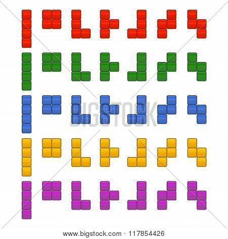 Tetris Bricks Pieces Total Set for Game. Vector