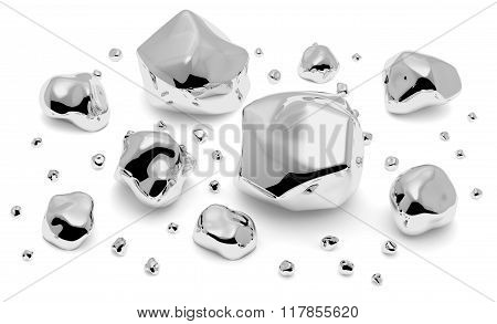 Shiny Metal Nuggets, Pieces And Grains