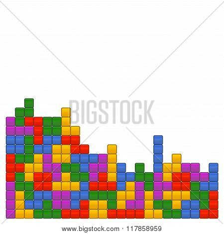 Game Brick Tetris Template on White Background. Vector.