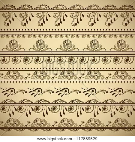 Vector Set Of Hand Drawn Borders In Ethnic Indian Style. Collection Of Pattern Brushes Inside
