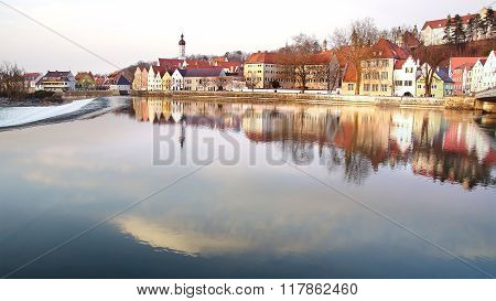 LANDSBERG AM LECH, GERMANY - MARCH 17, 2012: Panorama of old town with Lech River. Landsberg is one