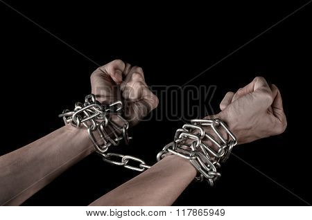 Hands Tied Chain, Kidnapping, Dependence, Loneliness, Social Problem, Halloween Theme, Killer, Crazy