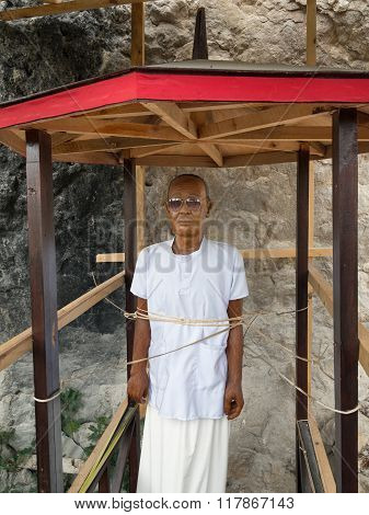 Morden Wooden Statue Of Tau Tau. Suaya Is Cliffs Old Burial Site In Tana Toraja. South Sulawesi, Ind
