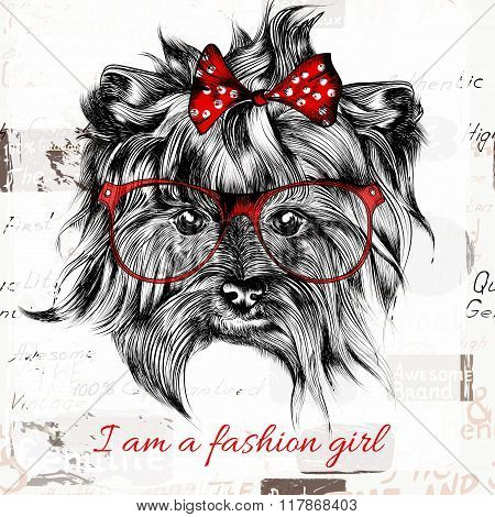 Vector Hand Drawn Hipster Dog With Red Bow And Glasses Fashion Girl