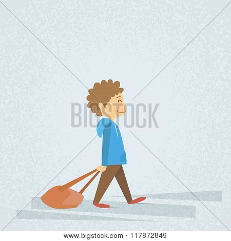 Little School Boy Walk Hold Bag, Dragging Backpack