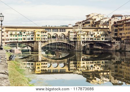 Ponte Vecchio Is Mirrored In The River Arno, Florence, Italy, Travel Destination, Italian Culture