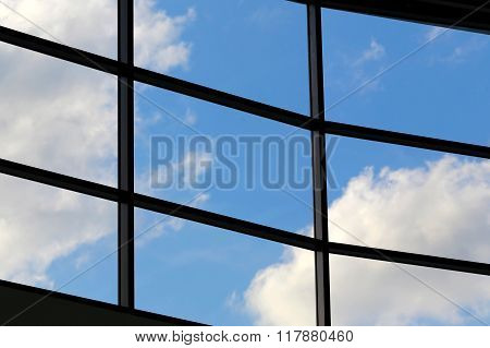 business interior window view of blue sky