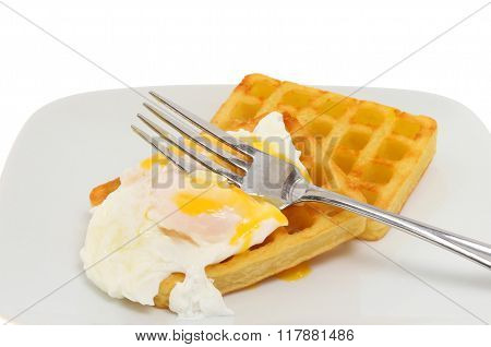 Poached Egg And Potato Waffle