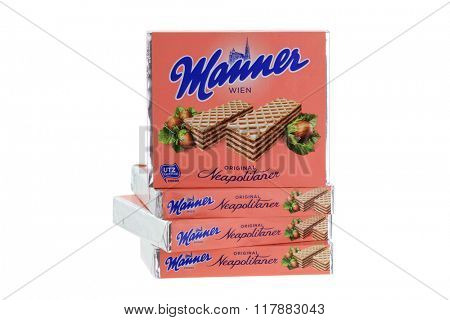 INNSBRUCK, AUSTRIA - MAY 2015 : The classic Original Manner Neapolitaner wafers in Innsbruck, Austria on May 09, 2015. Manner is wafers filled with hazelnut cocoa cream manufacturer in Austria
