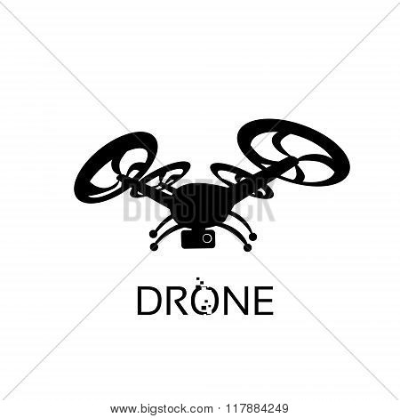 Drone Flying Air Quadrocopter Isolated Logo Icon