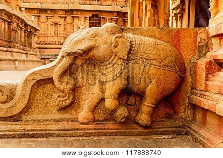 Statue of artistically finely carved elephant at Brihadeeswarar temple, Thanjavur