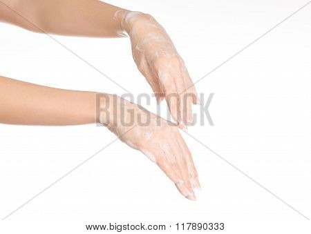 Hygiene And Health Protection Topic: A Woman's Hand In Soapsuds Isolated On White Background In Stud