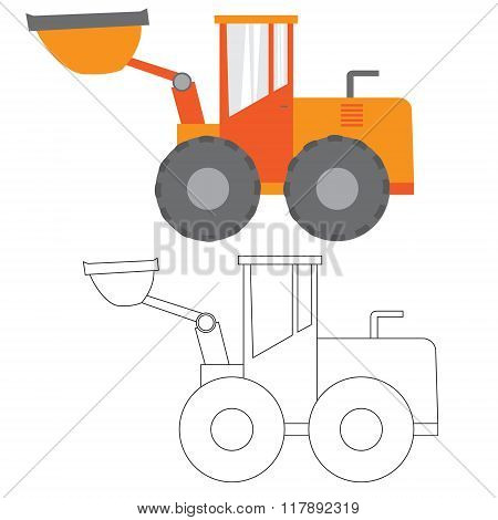 Car ,construction Machinery, Vector Illustration Flat Icon In Color And Linea,tractor, Grader