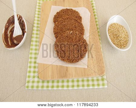 Homemade chocolate coins with amaranth