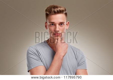 Portrait Of Serious Looking Male Teenager