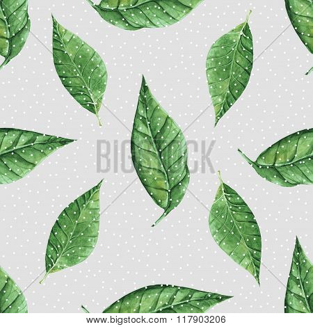 Hand painted abstract watercolor leaves pattern. Seamless spring illustration