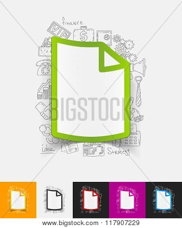 blank paper sticker with hand drawn elements