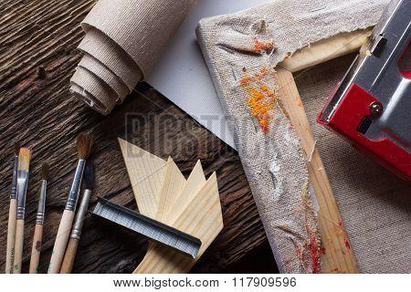 Set of brushes for painting, canvas, stapler, staples, subframe