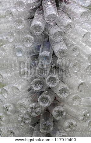 plastic bottles of mineral water. Plastic waste