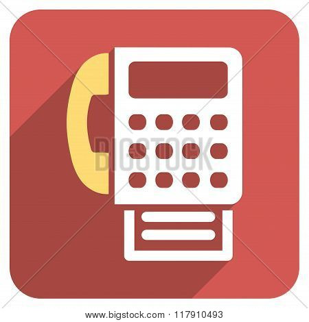 Fax Flat Rounded Square Icon with Long Shadow