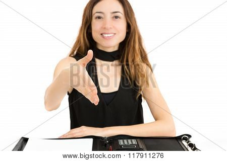 Friendly Business Woman Hand Shaking